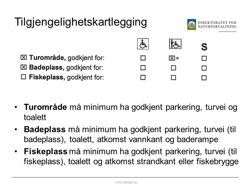 Tilgjengelighetskartlegging Turområde må minimum ha godkjent parkering, turvei og toalett Badeplass må minimum ha godkjent parkering, turvei (til bade