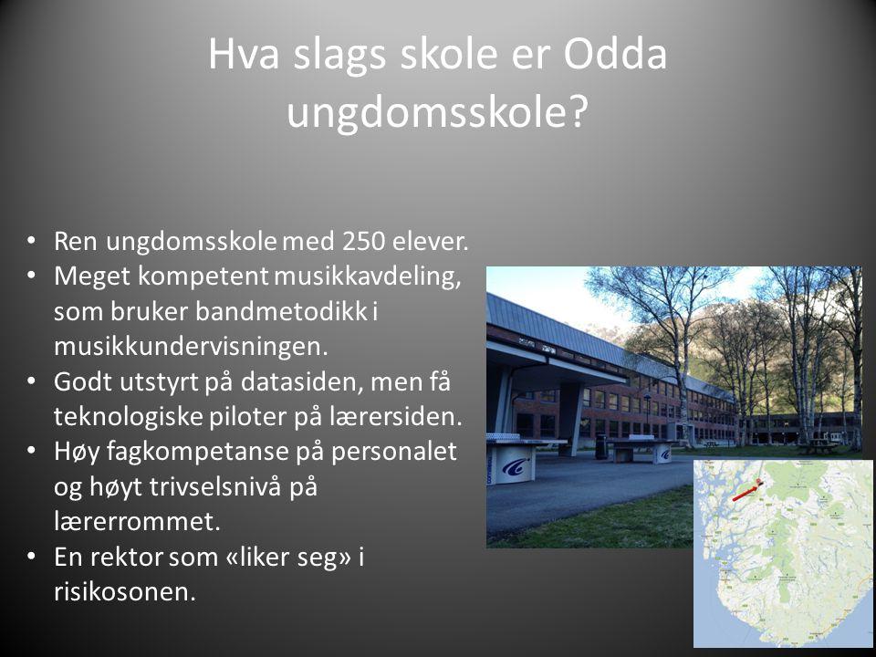 Hva slags skole er Odda ungdomsskole. Ren ungdomsskole med 250 elever.