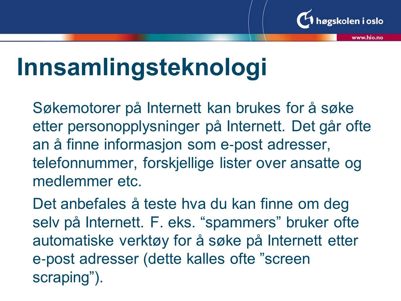 Søkemotorer på Internett kan brukes for å søke etter personopplysninger på Internett.