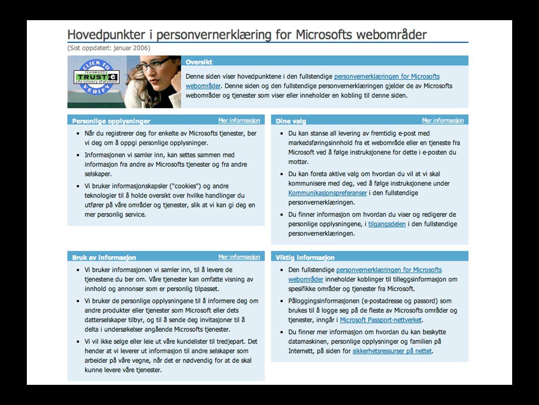 Kilder Datatilsynet http://www.datatilsynet.nohttp://www.datatilsynet.no/ Forskning.no http://www.forskning.no/Artikler/2003/mars/1 046699982.86 Elektroniske spor (Danielsson, Jerker, Arne-Kristian Groven, Thor Kristoffersen, Hans Jakob Rivertz og Åsmund Skomedal.