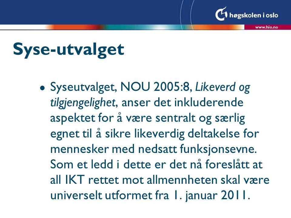 Syse-utvalget l Syseutvalget, NOU 2005:8, Likeverd og tilgjengelighet, anser det inkluderende aspektet for å være sentralt og særlig egnet til å sikre