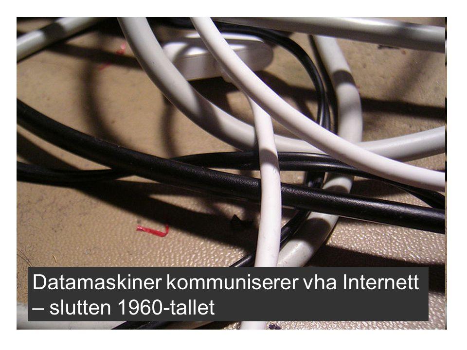Datamaskiner kommuniserer vha Internett – slutten 1960-tallet