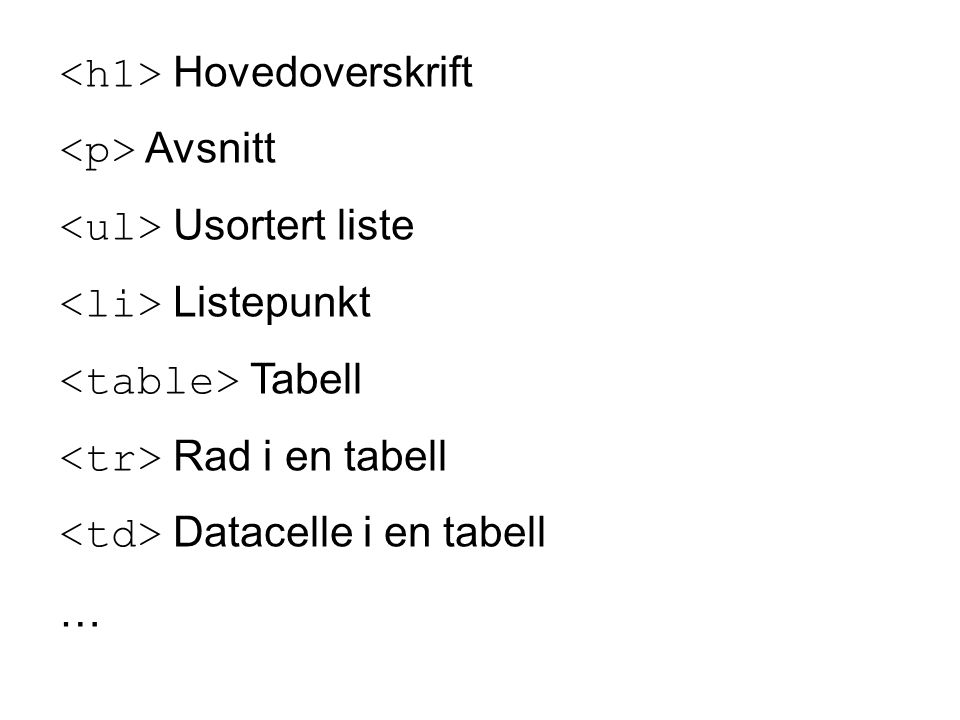 Hovedoverskrift Avsnitt Usortert liste Listepunkt Tabell Rad i en tabell Datacelle i en tabell …