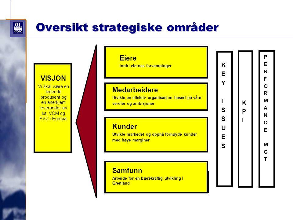 VISJON Vi skal være en ledende produsent og en anerkjent leverandør av lut, VCM og PVC i Europa. KEYISSUESKEYISSUES Eiere Innfri eiernes forventninger