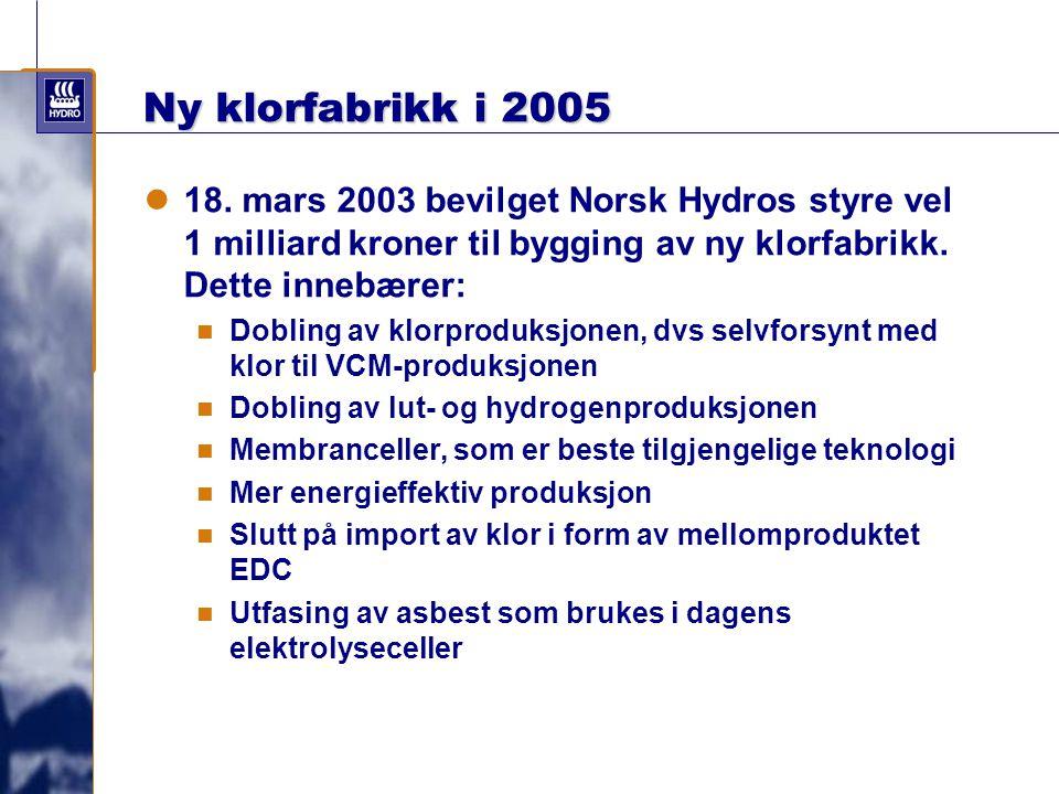 Ny klorfabrikk i 2005 18. mars 2003 bevilget Norsk Hydros styre vel 1 milliard kroner til bygging av ny klorfabrikk. Dette innebærer: Dobling av klorp