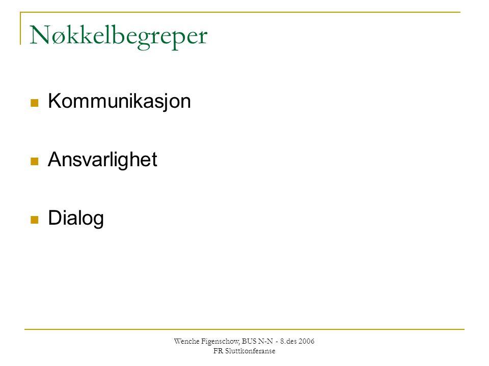 Wenche Figenschow, BUS N-N - 8.des 2006 FR Sluttkonferanse Nøkkelbegreper Kommunikasjon Ansvarlighet Dialog