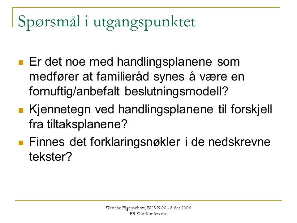 Wenche Figenschow, BUS N-N - 8.des 2006 FR Sluttkonferanse Spørsmål i utgangspunktet Er det noe med handlingsplanene som medfører at familieråd synes