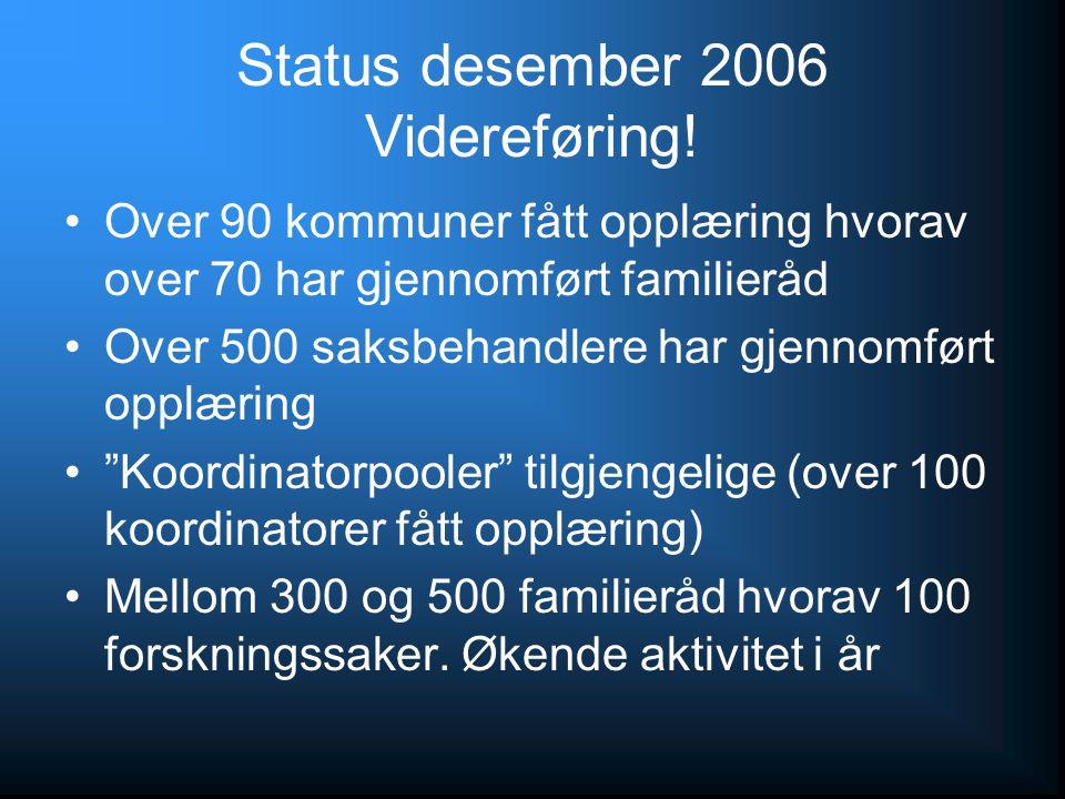Status desember 2006 Videreføring! Over 90 kommuner fått opplæring hvorav over 70 har gjennomført familieråd Over 500 saksbehandlere har gjennomført o