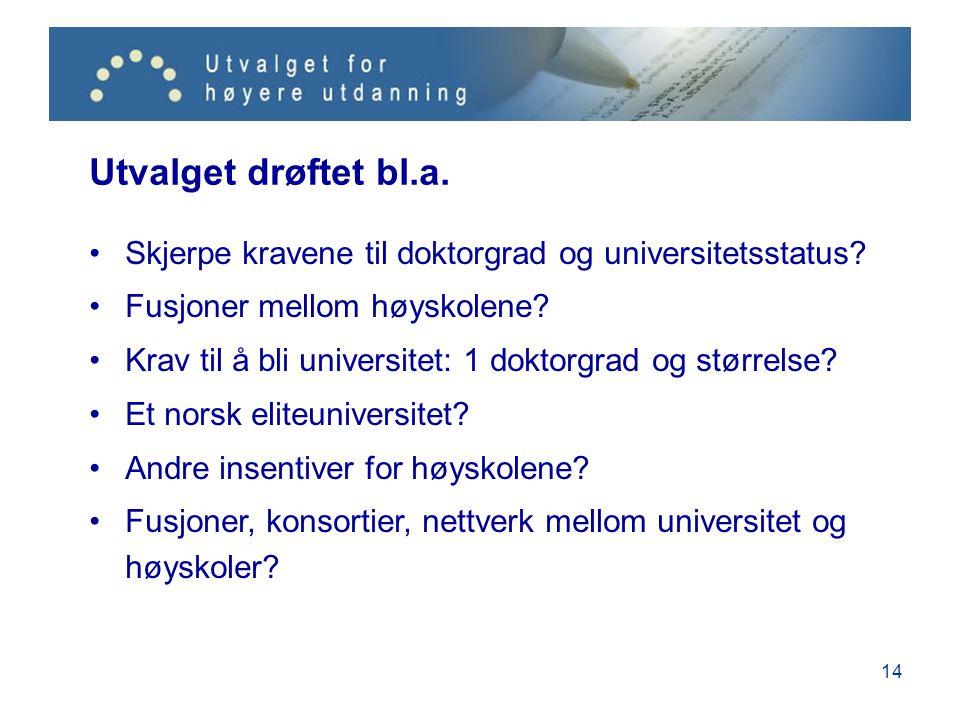 14 Utvalget drøftet bl.a. Skjerpe kravene til doktorgrad og universitetsstatus.