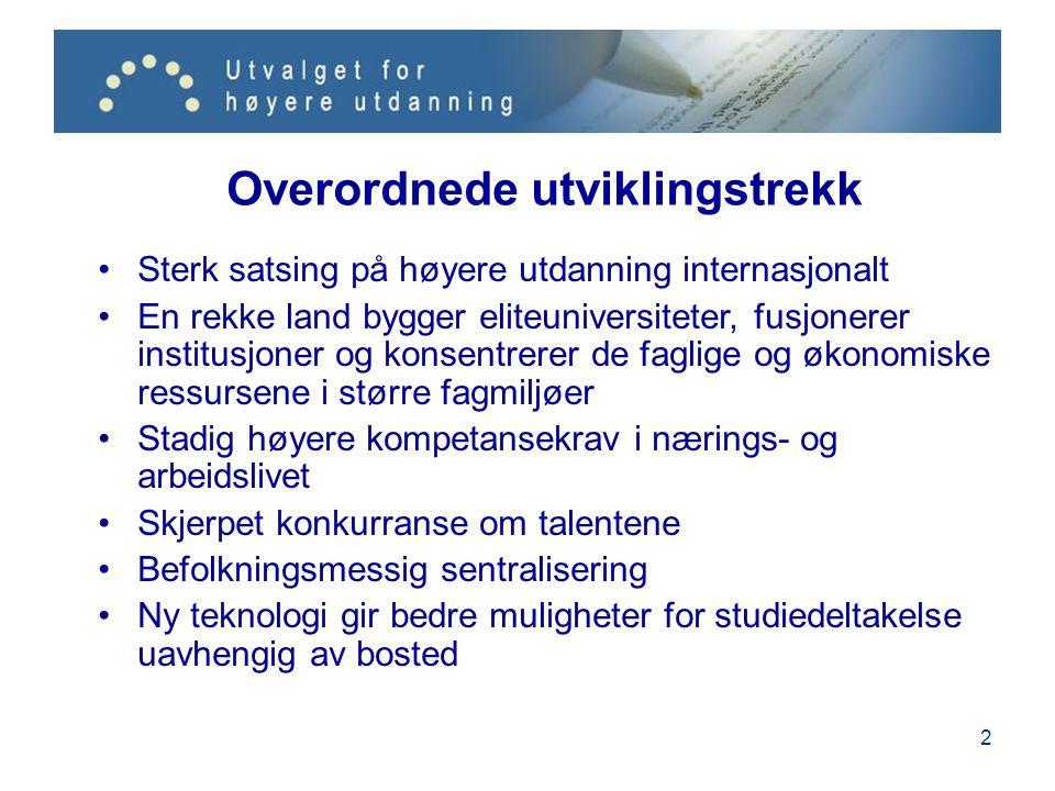 13 Hovedgrep: Mer samarbeid og styring Et styringsnivå mellom Hernes (nasjonal plan) og Mjøs (fragmentering og konkurranse) Større institusjoner med ansvar for en samlet plan for arbeidsdeling, prioritering, forskerutdanning, mastergrader, EVU og kvalitetssikring Nasjonal innflytelse på arbeidsdelingen mellom institusjonene Struktur, akkreditering, finansiering og ledelse skal bygge opp under dette