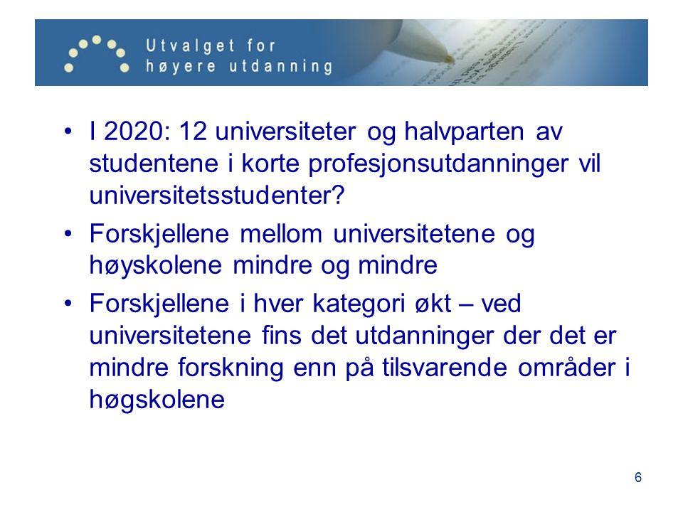 7 Systemet fragmenterte forskerutdanningen ytterligere 18 institusjoner hadde rett til å tildele doktorgrad – og det ble stadig flere 16 doktorgradsutdanninger i høyskolene siden 2000 – ønsker om 20-25 til Små miljøer og få uteksaminerte fra nye doktorgradsutdanninger = lavere kvalitet