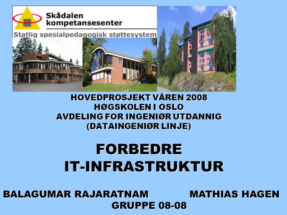 HOVEDPROSJEKT VÅREN 2008 HØGSKOLEN I OSLO AVDELING FOR INGENIØR UTDANNIG (DATAINGENIØR LINJE) FORBEDRE IT-INFRASTRUKTUR HOVEDPROSJEKT VÅREN 2008 HØGSK