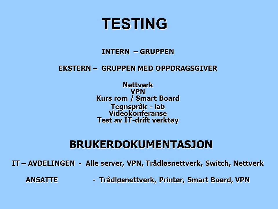 TESTING INTERN – GRUPPEN EKSTERN – GRUPPEN MED OPPDRAGSGIVER Nettverk VPN Kurs rom / Smart Board Tegnspråk - lab Videokonferanse Test av IT-drift verk