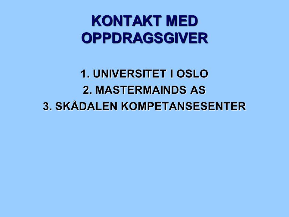 KONTAKT MED OPPDRAGSGIVER 1. UNIVERSITET I OSLO 2. MASTERMAINDS AS 3. SKÅDALEN KOMPETANSESENTER