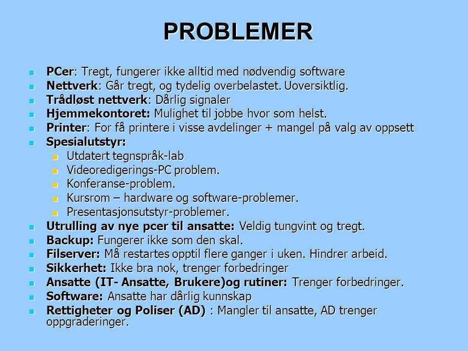 PROBLEMER PCer: Tregt, fungerer ikke alltid med nødvendig software PCer: Tregt, fungerer ikke alltid med nødvendig software Nettverk: Går tregt, og ty