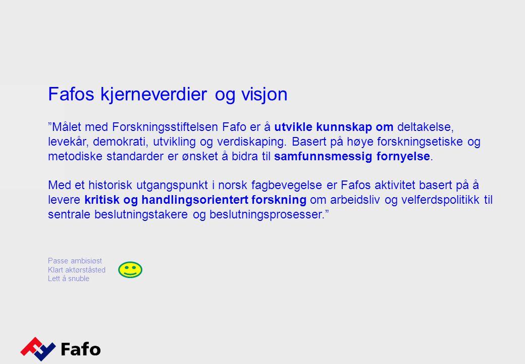 Fafos kjerneverdier og visjon Målet med Forskningsstiftelsen Fafo er å utvikle kunnskap om deltakelse, levekår, demokrati, utvikling og verdiskaping.