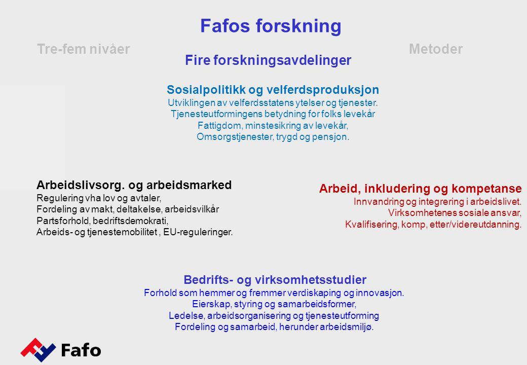 Metoder Tre-fem nivåer Fafos forskning Bedrifts- og virksomhetsstudier Forhold som hemmer og fremmer verdiskaping og innovasjon.