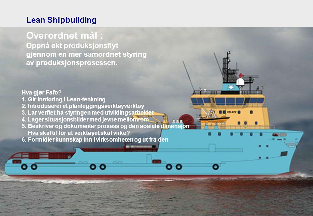 Lean Shipbuilding Overordnet mål : Oppnå økt produksjonsflyt gjennom en mer samordnet styring av produksjonsprosessen.