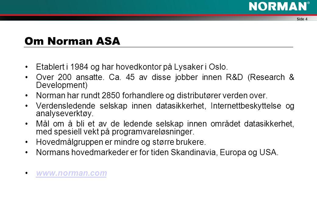 Side 4 Om Norman ASA Etablert i 1984 og har hovedkontor på Lysaker i Oslo.