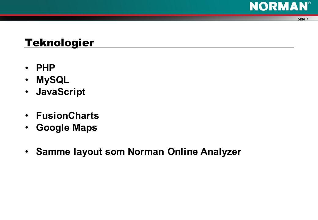 Side 7 Teknologier PHP MySQL JavaScript FusionCharts Google Maps Samme layout som Norman Online Analyzer