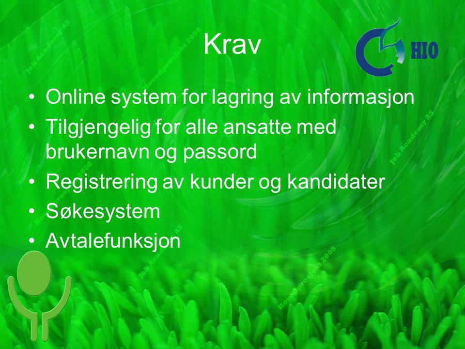 Krav Online system for lagring av informasjon Tilgjengelig for alle ansatte med brukernavn og passord Registrering av kunder og kandidater Søkesystem