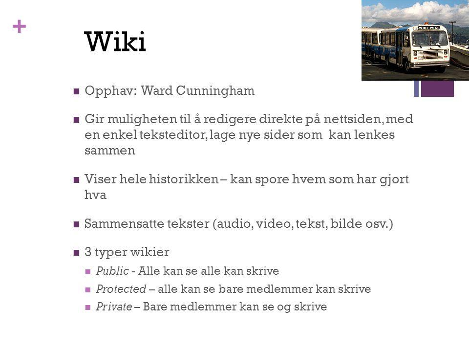 + Opphav: Ward Cunningham Gir muligheten til å redigere direkte på nettsiden, med en enkel teksteditor, lage nye sider som kan lenkes sammen Viser hele historikken – kan spore hvem som har gjort hva Sammensatte tekster (audio, video, tekst, bilde osv.) 3 typer wikier Public - Alle kan se alle kan skrive Protected – alle kan se bare medlemmer kan skrive Private – Bare medlemmer kan se og skrive Wiki