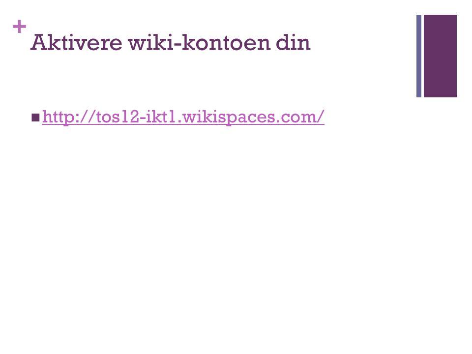 + Bli kjent med Wikien Se øverst til høyre; klikk på navnet ditt (da kommer du til Dashboard) My wikies – Mail – My account (gir settings) Sign out Forskjellige typer wiki Helt åpne Delvis lukket Helt lukket