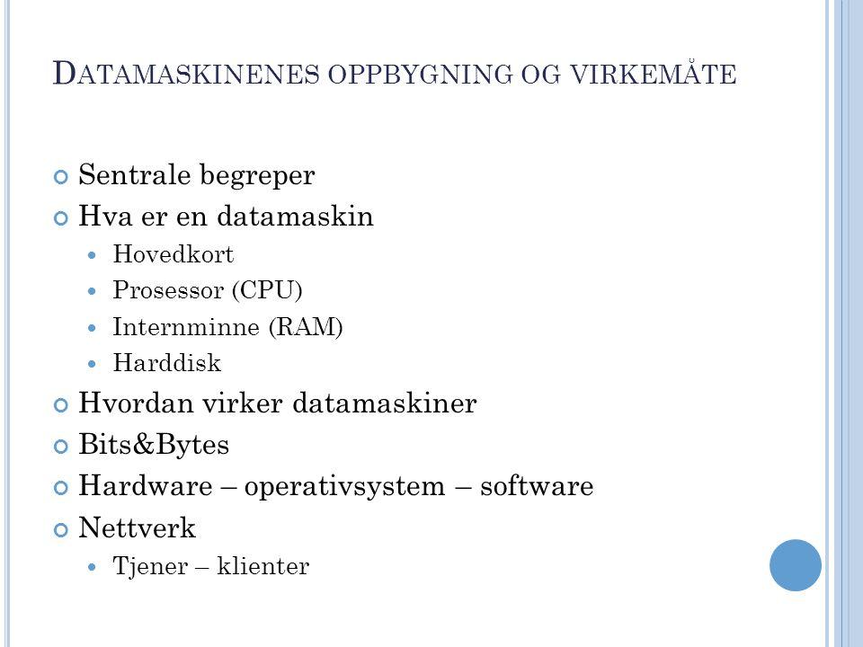 D ATAMASKINENES OPPBYGNING OG VIRKEMÅTE Sentrale begreper Hva er en datamaskin Hovedkort Prosessor (CPU) Internminne (RAM) Harddisk Hvordan virker datamaskiner Bits&Bytes Hardware – operativsystem – software Nettverk Tjener – klienter
