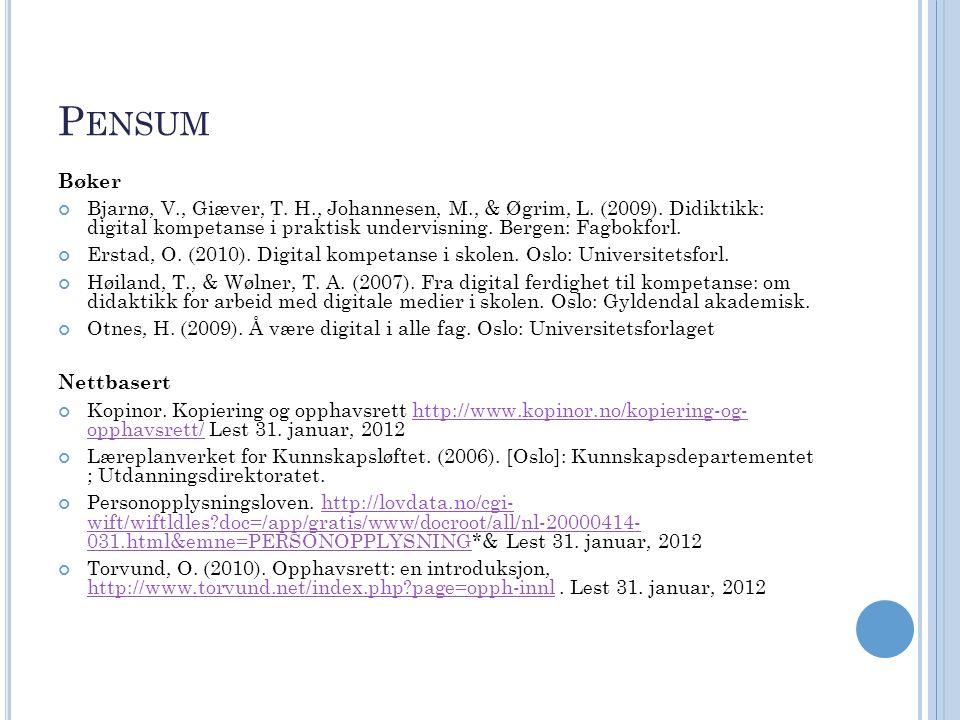 P ENSUM Bøker Bjarnø, V., Giæver, T. H., Johannesen, M., & Øgrim, L. (2009). Didiktikk: digital kompetanse i praktisk undervisning. Bergen: Fagbokforl