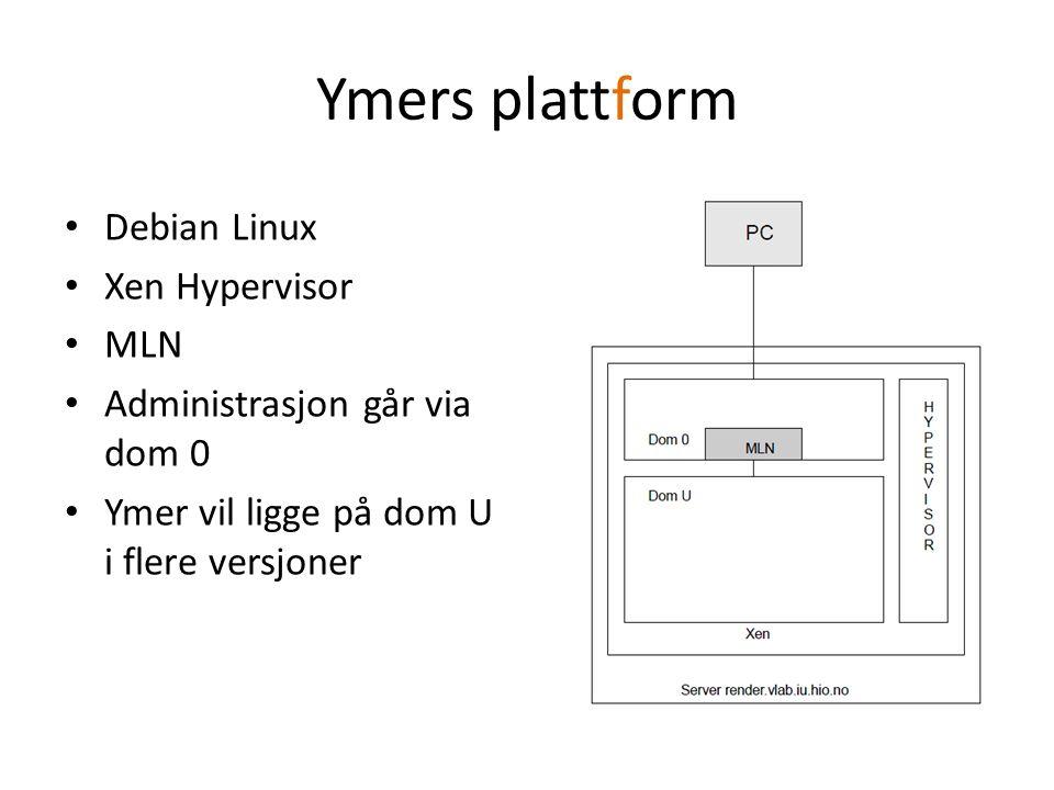 Ymers plattform Debian Linux Xen Hypervisor MLN Administrasjon går via dom 0 Ymer vil ligge på dom U i flere versjoner