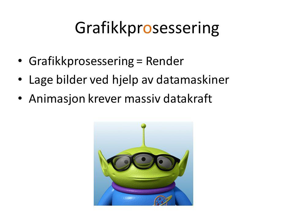 Renderfarm Nettverk av maskiner Klynge = Cluster Parallell prosessering Virtualisering