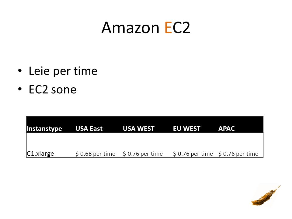 Amazon EC2 Leie per time EC2 sone InstanstypeUSA EastUSA WESTEU WESTAPAC C1.xlarge $ 0.68 per time$ 0.76 per time