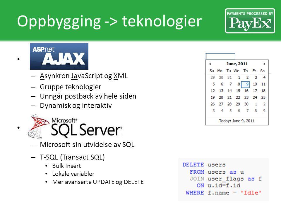 Oppbygging -> teknologier – Asynkron JavaScript og XML – Gruppe teknologier – Unngår postback av hele siden – Dynamisk og interaktiv – Microsoft sin utvidelse av SQL – T-SQL (Transact SQL) Bulk Insert Lokale variabler Mer avanserte UPDATE og DELETE