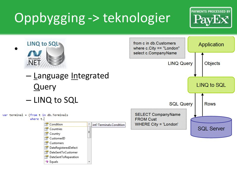 Oppbygging -> teknologier – Language Integrated Query – LINQ to SQL