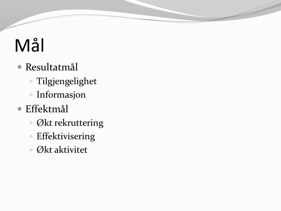 Mål Resultatmål Tilgjengelighet Informasjon Effektmål Økt rekruttering Effektivisering Økt aktivitet