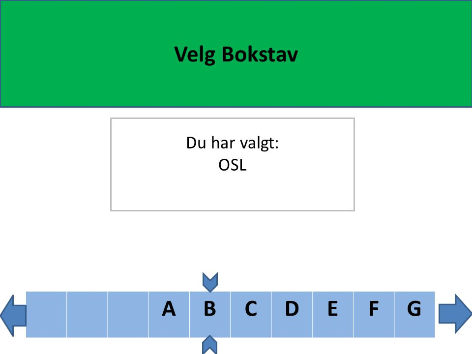 ABCDEF Velg Bokstav Du har valgt: OSL