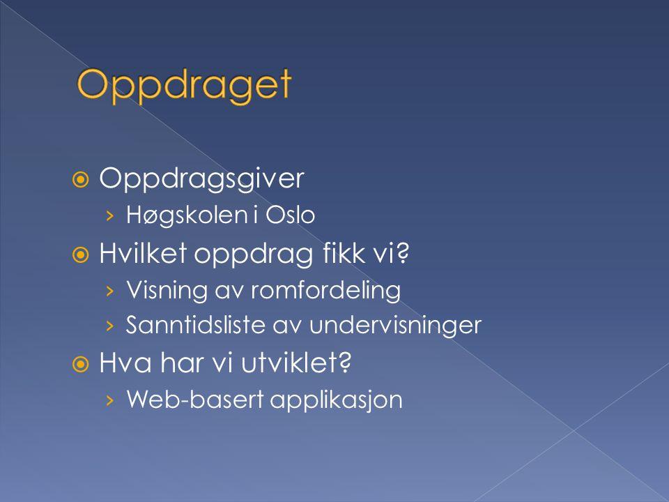  Oppdragsgiver › Høgskolen i Oslo  Hvilket oppdrag fikk vi.
