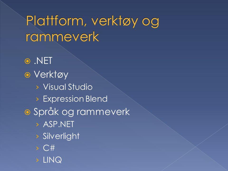 .NET  Verktøy › Visual Studio › Expression Blend  Språk og rammeverk › ASP.NET › Silverlight › C# › LINQ