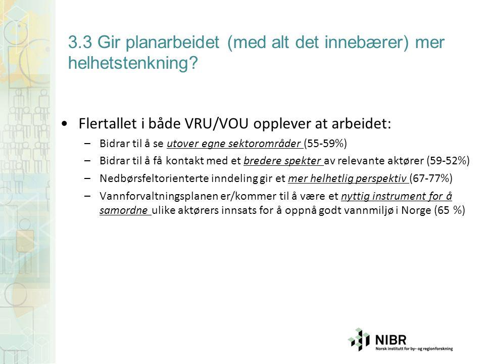 3.3 Gir planarbeidet (med alt det innebærer) mer helhetstenkning? Flertallet i både VRU/VOU opplever at arbeidet: –Bidrar til å se utover egne sektoro