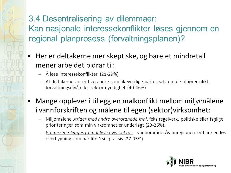 3.4 Desentralisering av dilemmaer: Kan nasjonale interessekonflikter løses gjennom en regional planprosess (forvaltningsplanen)? Her er deltakerne mer