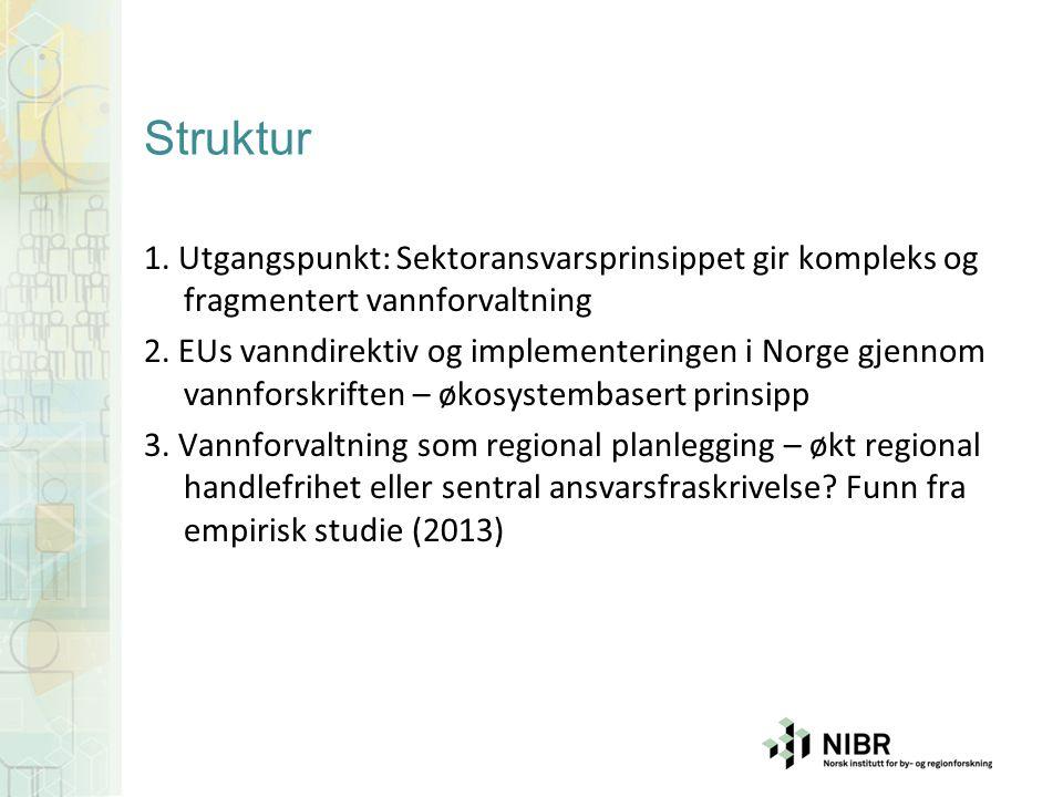 Struktur 1. Utgangspunkt: Sektoransvarsprinsippet gir kompleks og fragmentert vannforvaltning 2. EUs vanndirektiv og implementeringen i Norge gjennom