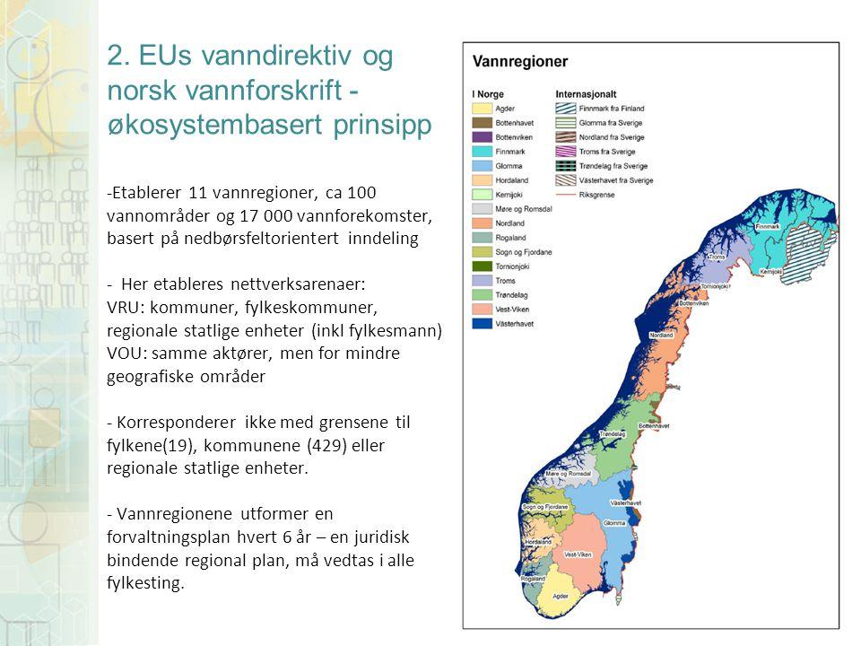 2. EUs vanndirektiv og norsk vannforskrift - økosystembasert prinsipp -Etablerer 11 vannregioner, ca 100 vannområder og 17 000 vannforekomster, basert