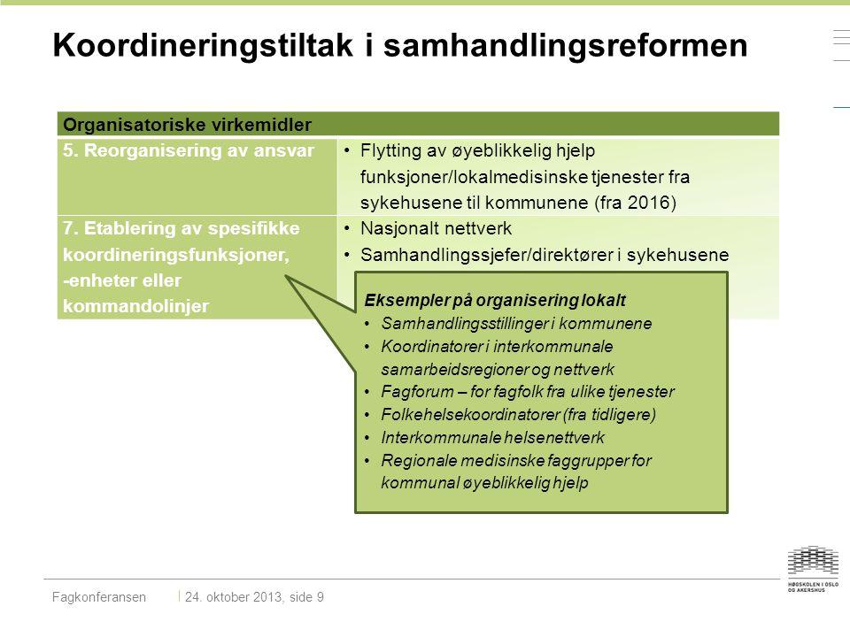Organisatoriske virkemidler 5. Reorganisering av ansvar Flytting av øyeblikkelig hjelp funksjoner/lokalmedisinske tjenester fra sykehusene til kommune