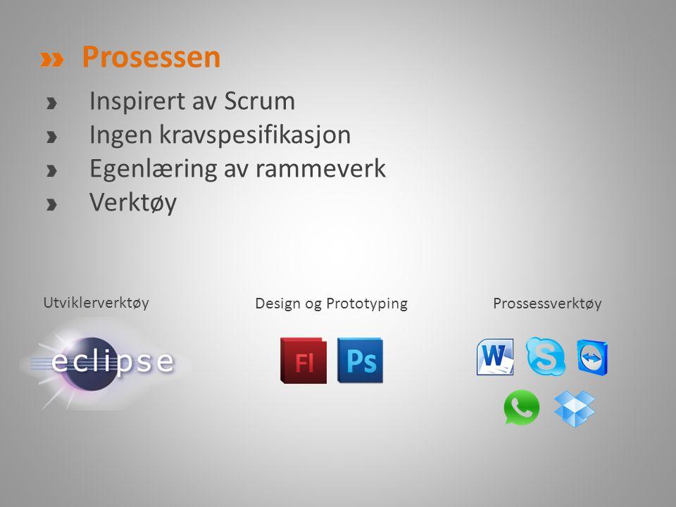 Prosessen Inspirert av Scrum Ingen kravspesifikasjon Egenlæring av rammeverk Verktøy Design og PrototypingProssessverktøy Utviklerverktøy