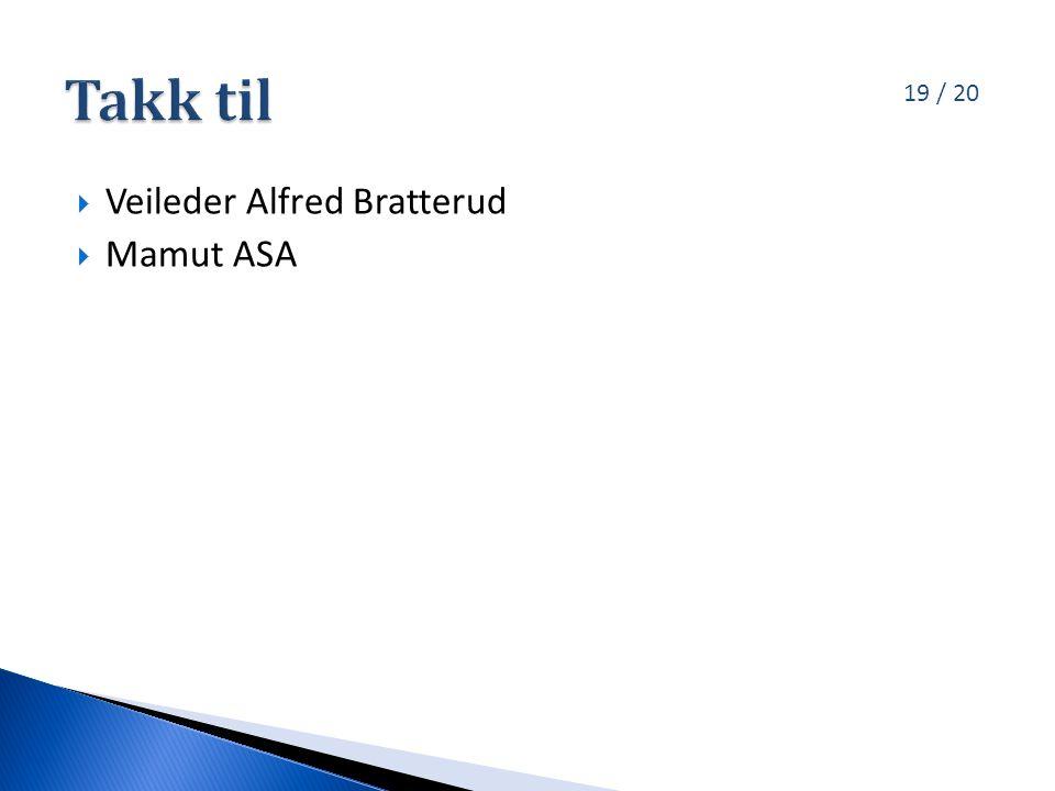 19 / 20  Veileder Alfred Bratterud  Mamut ASA