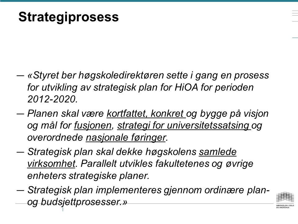 Strategiprosess — «Styret ber høgskoledirektøren sette i gang en prosess for utvikling av strategisk plan for HiOA for perioden 2012-2020. — Planen sk