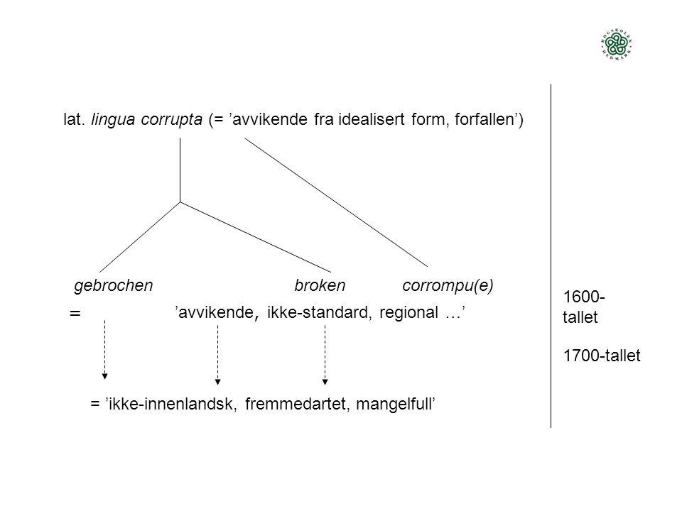 lat. lingua corrupta (= 'avvikende fra idealisert form, forfallen') gebrochenbroken corrompu(e) 1600- tallet 'avvikende, ikke-standard, regional …' =
