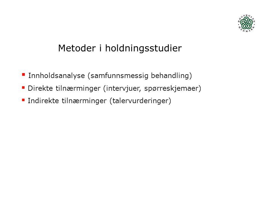 Metoder i holdningsstudier  Innholdsanalyse (samfunnsmessig behandling)  Direkte tilnærminger (intervjuer, spørreskjemaer)  Indirekte tilnærminger (talervurderinger)