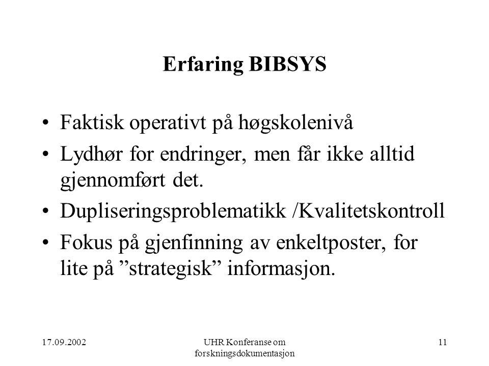 17.09.2002UHR Konferanse om forskningsdokumentasjon 11 Erfaring BIBSYS Faktisk operativt på høgskolenivå Lydhør for endringer, men får ikke alltid gjennomført det.