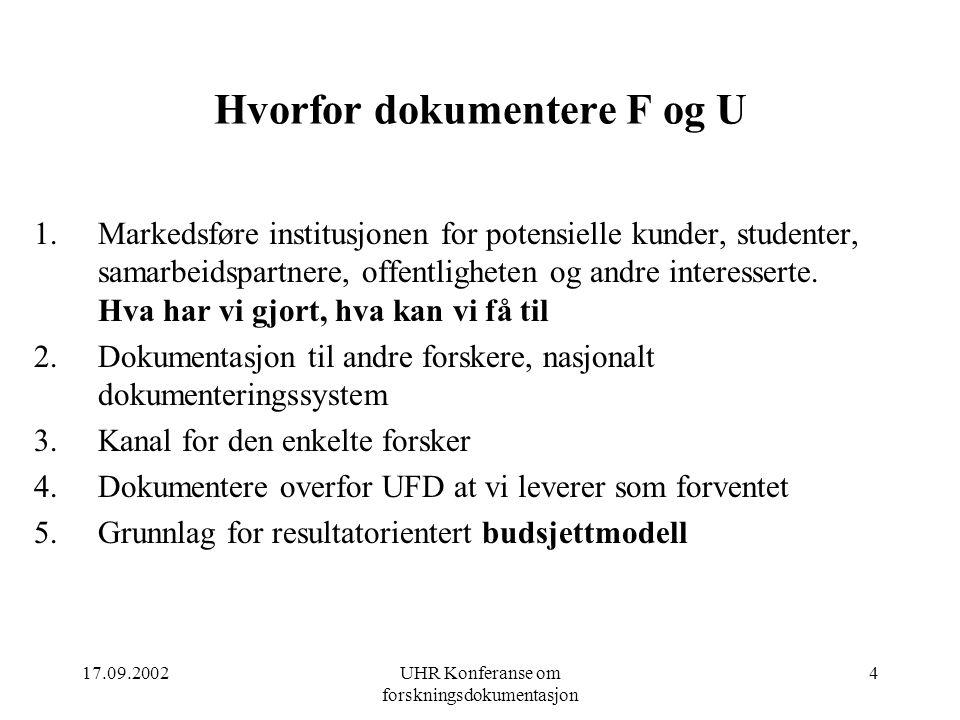 17.09.2002UHR Konferanse om forskningsdokumentasjon 4 Hvorfor dokumentere F og U 1.Markedsføre institusjonen for potensielle kunder, studenter, samarbeidspartnere, offentligheten og andre interesserte.